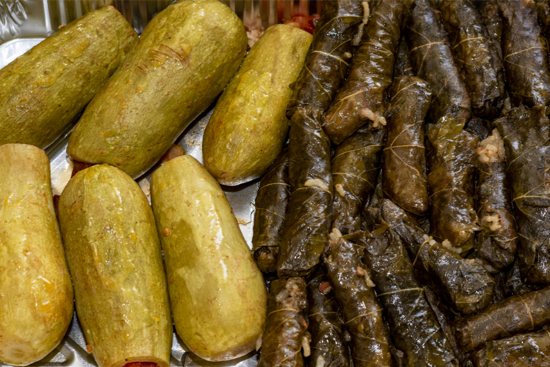 vine leaves and stuffed zucchinis